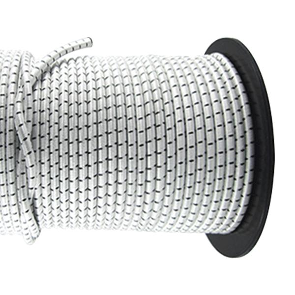 6mm Monoflex Expanderseil mit PES Polyester Mantel weiss schwarz Gummiseil